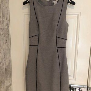 H&M Sleeveless Gray Pencil Dress Black Piping